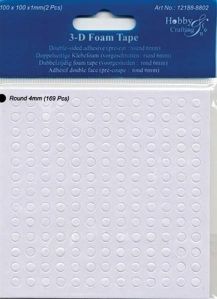 Hobby & Fun - 3D Foam Tape - 8802 - round 4mm - h: 1mm - 169stk