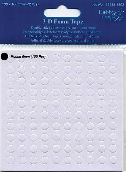 Hobby & Fun - 3D Foam Tape - 8803 - round 6mm - h: 1mm - 100stk
