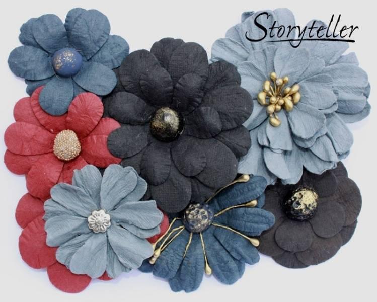 Storyteller -  Ass blomster m senter - Blå-rød - 4679