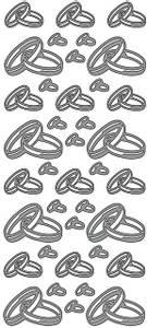 Bilde av Klistremerker - 0175 - Outline stickers - Doble ringer - sølv