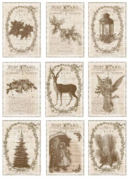Reprint -  A4 Klippeark - KP0057 - Vintage Christmas - Old Times