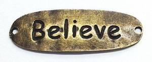 Bilde av Charms - Tekst - Oval - Believe - Bronse - 6stk