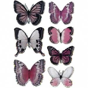 Bilde av 3D Stickers - sommerfugl 7stk - lilla / rosa