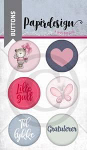 Bilde av Papirdesign - Buttons - 1900216 - Lille gull, rosa