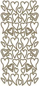 Bilde av Klistremerker - 0061 - Outline stickers - Skjeve hjerter - Gull