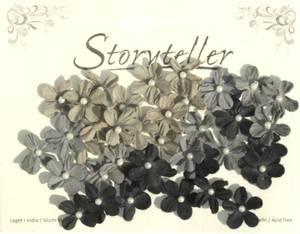 Bilde av Storyteller - Små blomster med perle - svart og grå - 6499