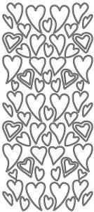 Bilde av Klistremerker - 0062 - Outline stickers - Skjeve hjerter - Sølv