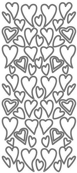 Klistremerker - 0062 - Outline stickers - Skjeve hjerter - Sølv