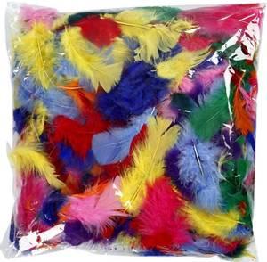 Bilde av Fjær - Kalkundun - Assorterte farger - 50g - Stor pakke
