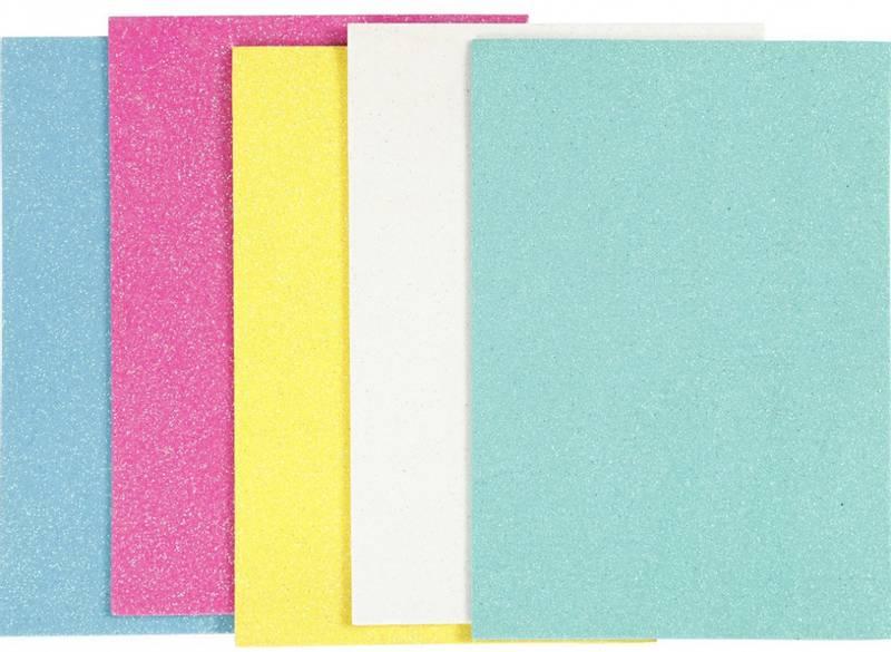Mosegummi - A5 - 2mm - 769012 - Glitter - mix2 - Ass farger 5stk