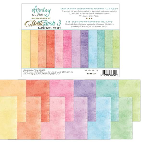 Mintay - 6x8 paper pad - Basic Book 03 - Backgrounds - Rainbow
