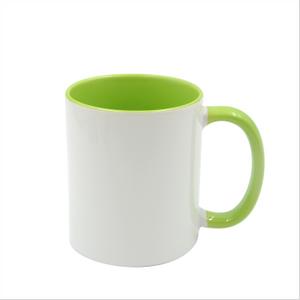 Bilde av Two tone lime/hvit kopp