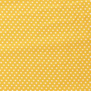 Bilde av Bomullspoplin gul med hjerter