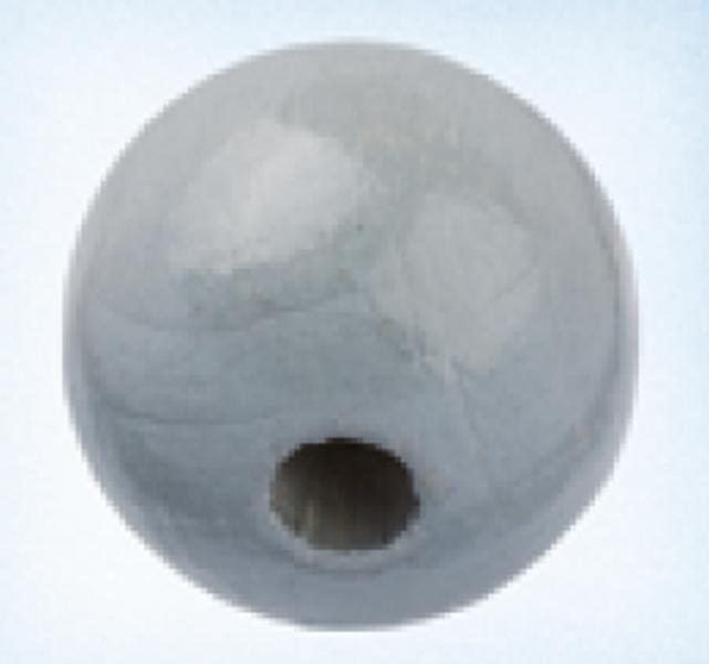 Rund 15 mm treperle lysgrå 12pk