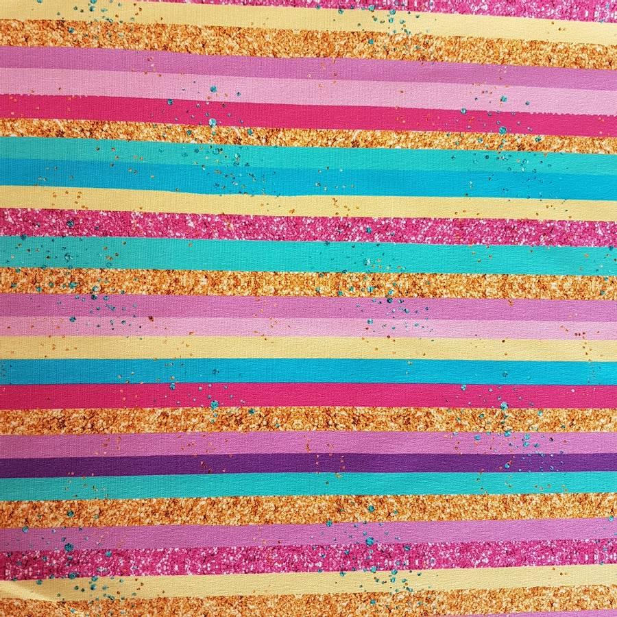 French terry - Pastellstriper & glitter