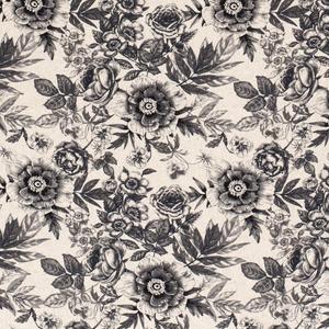 Bilde av Viskose/lin blomster svart