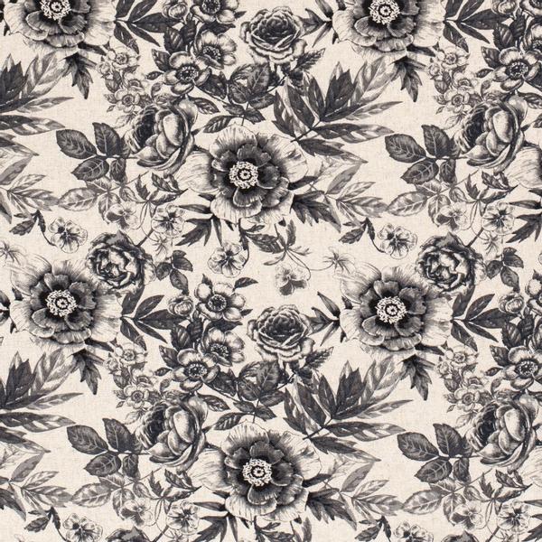 Viskose/lin blomster svart