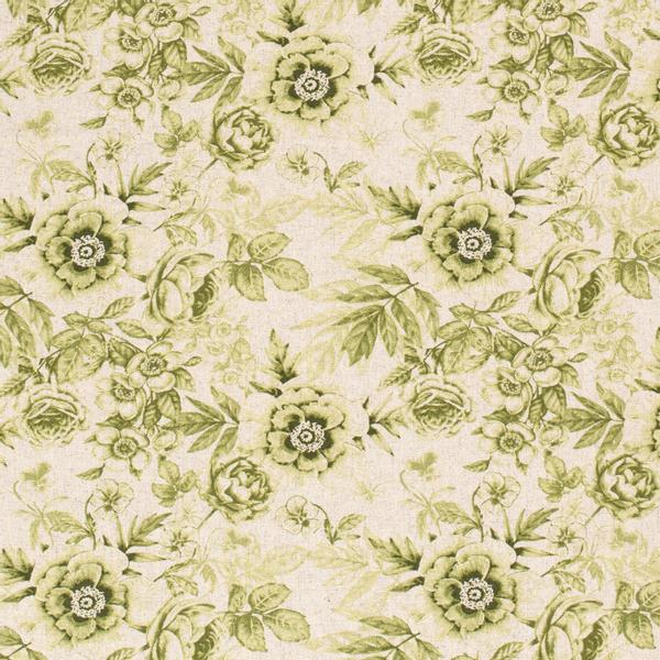 Viskose/lin blomster lysgrønn