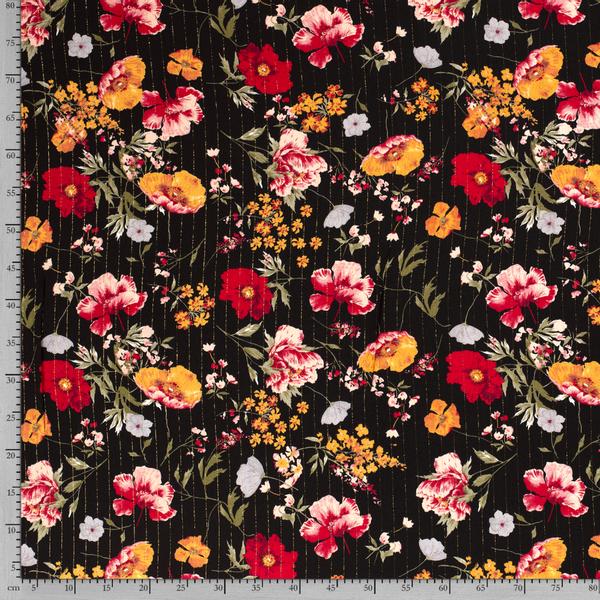 Crepe viskose lurex blomster svart