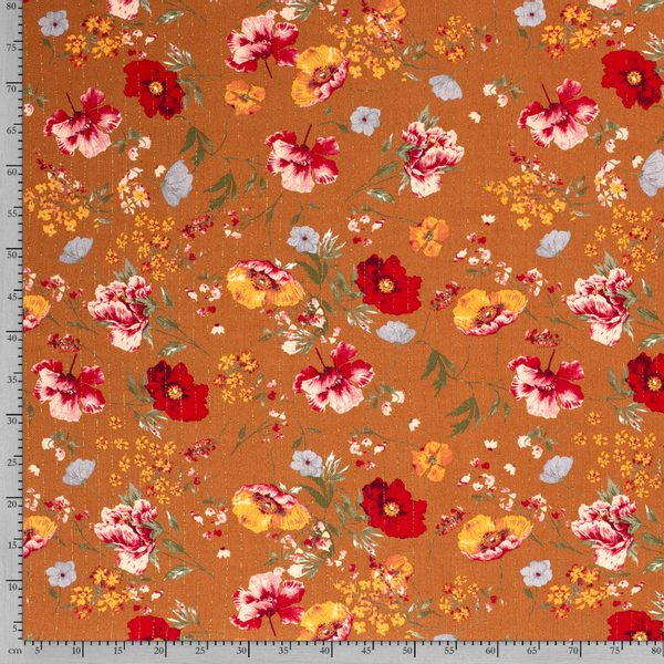 Crepe viskose lurex blomster rust