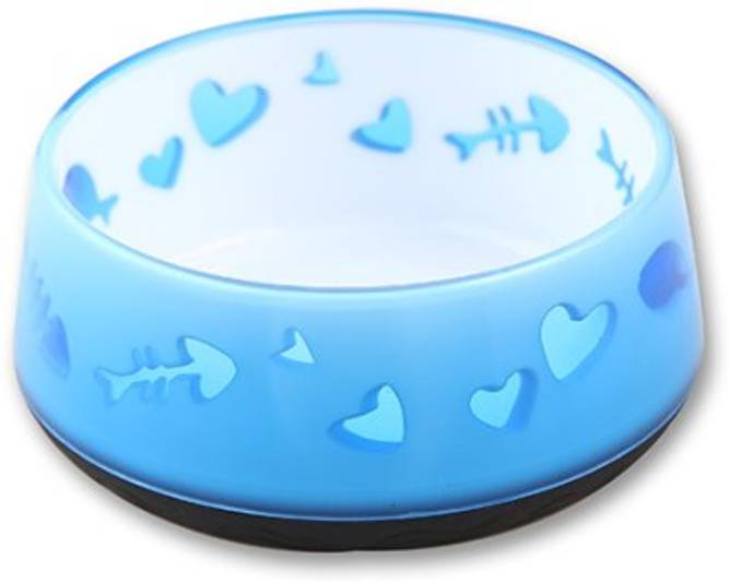 Bilde av Katteskål med tung bunn, blå.