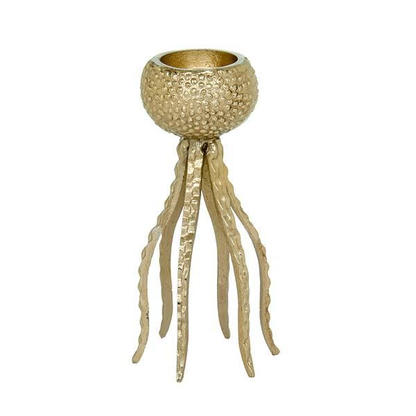 Bilde av Lysestake i gull metall blekksprut S