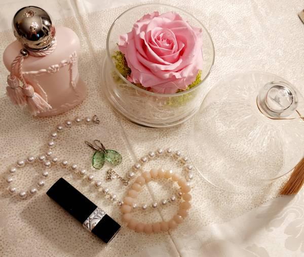 Bilde av Bevart rose i glasskrukke rosa