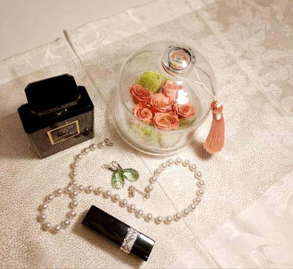 Bilde av Bevart rose i glasskrukke lakserosa