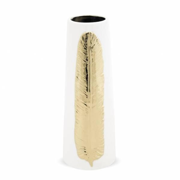 Bilde av Vase hvit med gullblad L