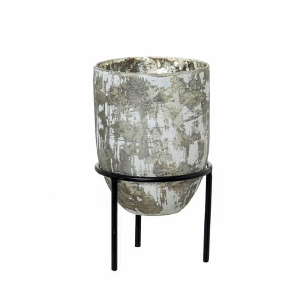 Bilde av Vase-lysestake glass på metallbena 12x12x20 cm
