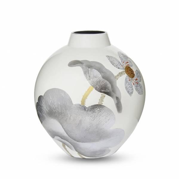 Bilde av Vase keramisk lotus sølv H33