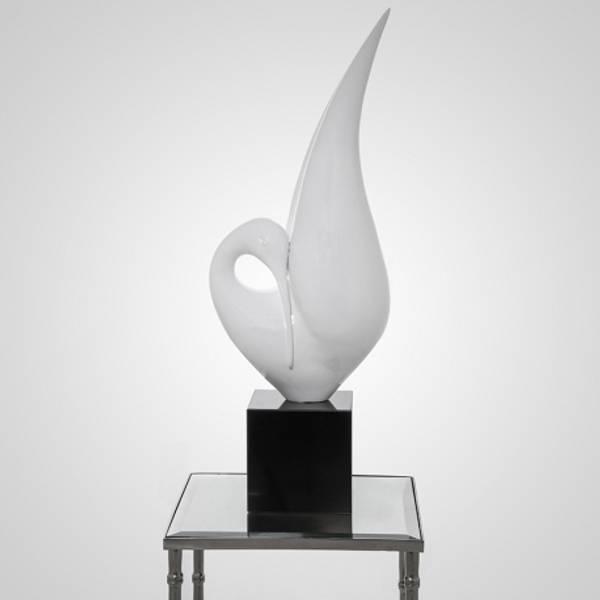 Skulptur fugl hvit 28x20x81