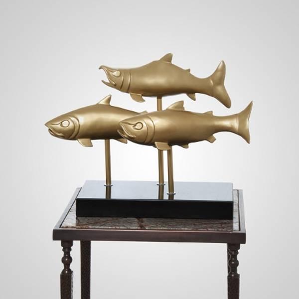 Skulptur fisker gull 69x28x48