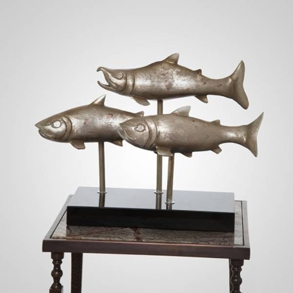 Skulptur fisker sølv 69x28x48