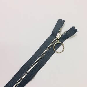 Glidelås med ring  mørk grå - ikke delbar 25cm