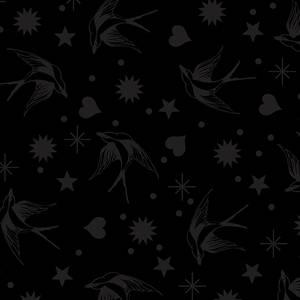 Linework -svart på svart - 85cm