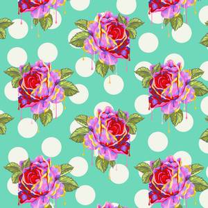 Bilde av Curiouser and Curiouser Painted roses, turkis
