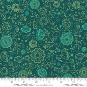 Bilde av Cottage Bleu petrol med blomster