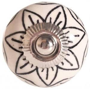 Bilde av Knott av keramikk, blomst, sort/hvit