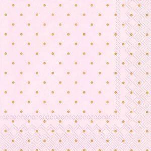 Bilde av Papirserviett rosa med gullprikker