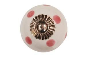 Bilde av Knotter hvit med rosa prikker (4cm)