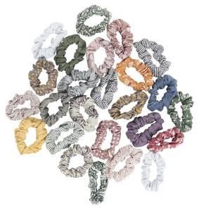 Bilde av Hårstrikk / scrunchie av bomull med strikk inni