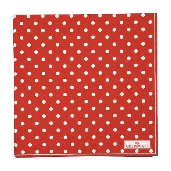 GreenGate papirservietter Spot red large