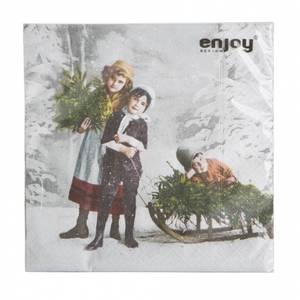 Bilde av Papirservietter nostalgi, barn med juletre