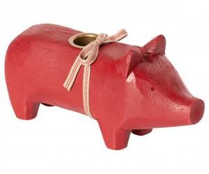 Bilde av Maileg lysestake gris, medium rød