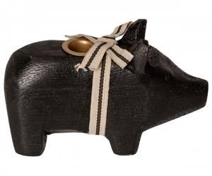 Bilde av Maileg lysestake til juletrelys, sort gris