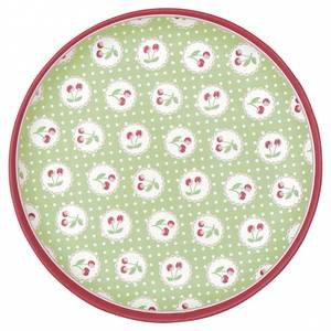 Bilde av GreenGate bambustallerken Plate Cherry berry pale