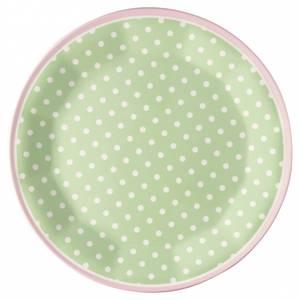 Bilde av GreenGate melamintallerken Spot pale green