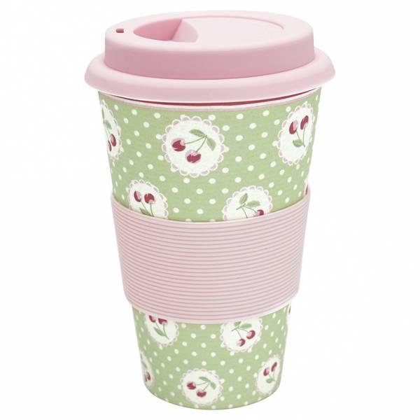GreenGate Travel mug Cherry Berry pale green