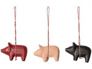 Bilde av Maileg julekule, gris i tre (velg farge)